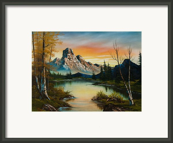 Mountain At Sunset Framed Print By C Steele
