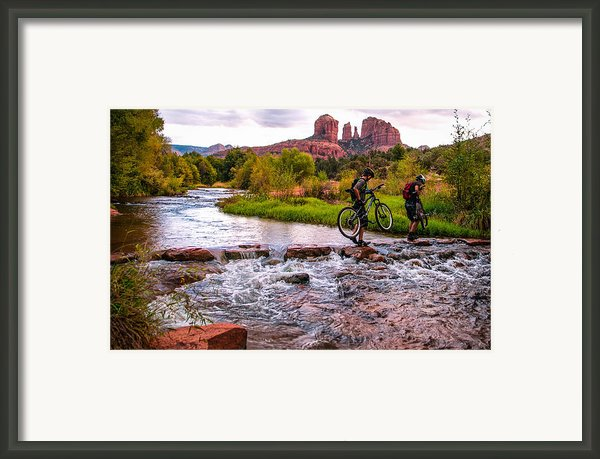 Mountain Bikers Crossing Cathedral Falls Framed Print By Linda Pulvermacher