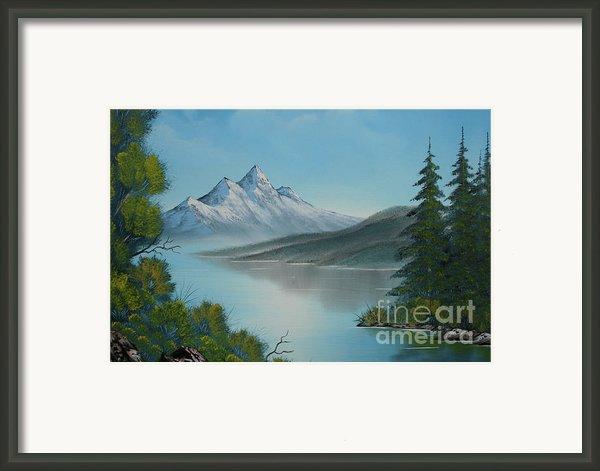 Mountain Lake Painting A La Bob Ross Framed Print By Bruno Santoro
