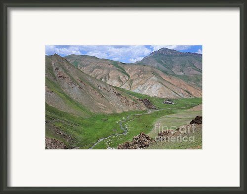Mountain Landscape In The Tash Rabat Valley Of Kyrgyzstan Framed Print By Robert Preston