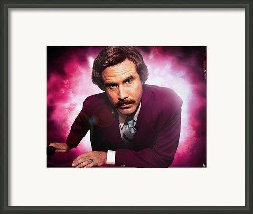 Mr. Ron Mr. Ron Burgundy From Anchorman Framed Print By Nicholas  Grunas