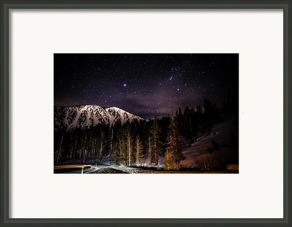 Mt. Rose Highway And Ski Resort At Night Framed Print By Scott Mcguire