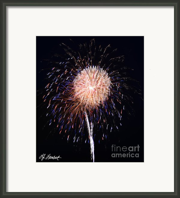Multiple Fireworks Framed Print By Lj Lambert