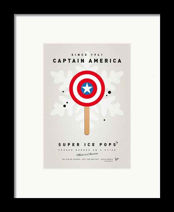 My Superhero Ice Pop - Captain America Framed Print By Chungkong Art