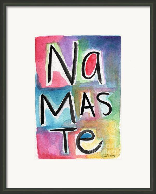 Namaste Watercolor Framed Print By Linda Woods