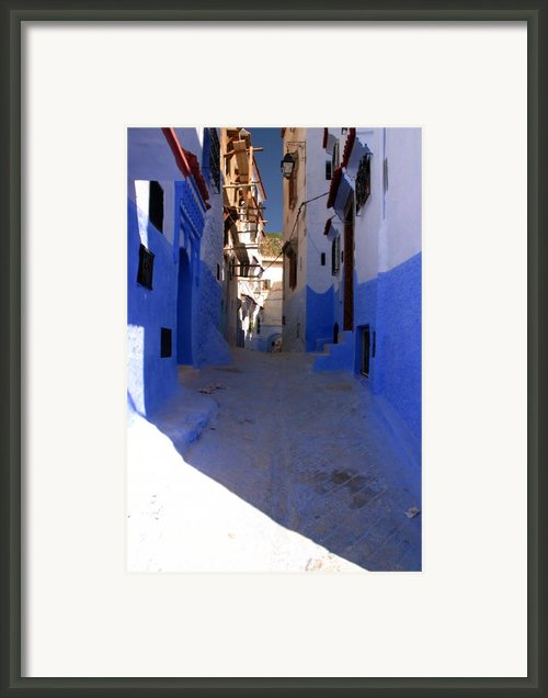 Narrow Backstreet In Colourful Chefachaouen Rif Mountains Morocco Framed Print By Artphoto-ralph A  Ledergerber-photography