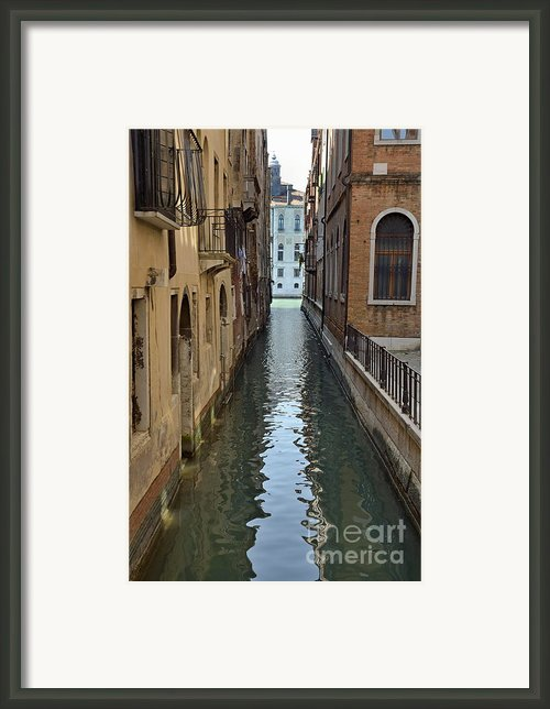 Narrow Canal In Venice Framed Print By Sami Sarkis