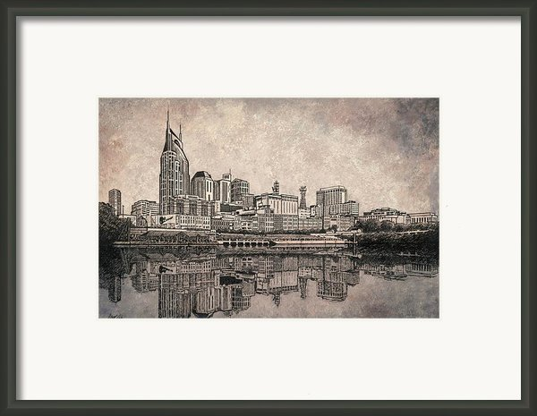 Nashville Skyline Reflection Framed Print By Janet King
