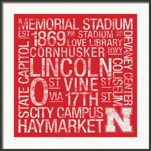 Nebraska College Colors Subway Art Framed Print By Replay Photos