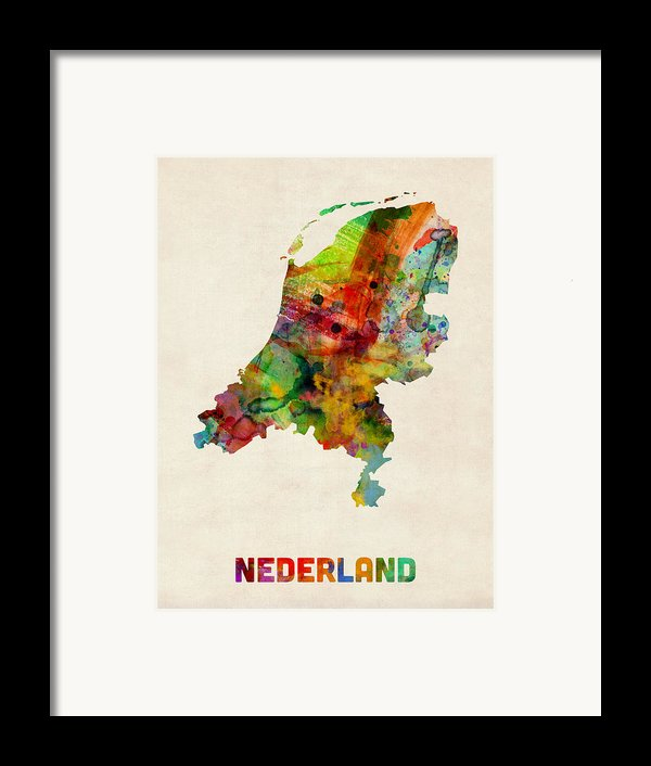 Netherlands Watercolor Map Framed Print By Michael Tompsett