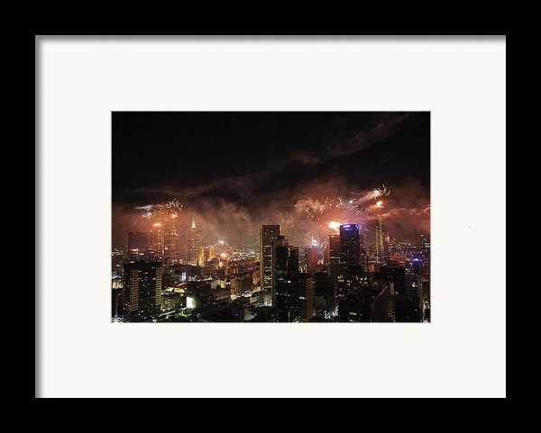 New Year Fireworks Framed Print By Ray Warren