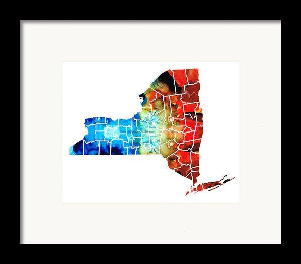 New York - Map By Sharon Cummings Framed Print By Sharon Cummings