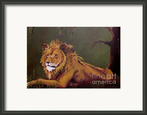 Noble Guardian - Lion Framed Print By Patricia Awapara