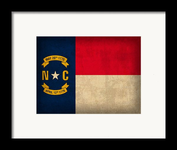 North Carolina State Flag Art On Worn Canvas Framed Print By Design Turnpike