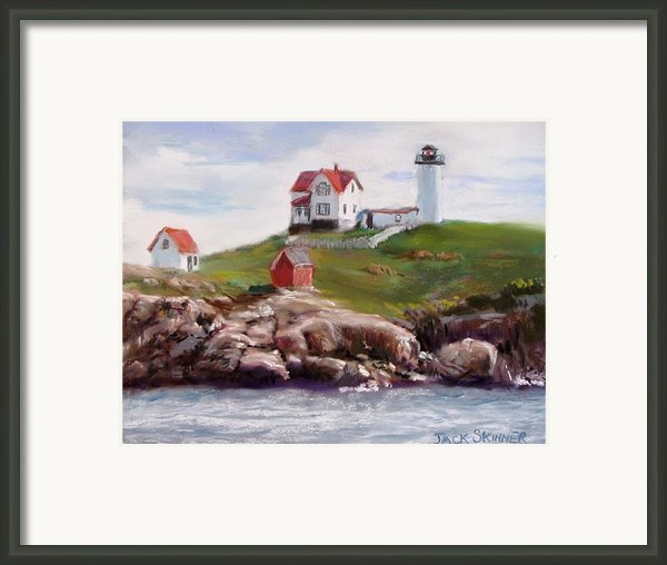 Nubble Lighthouse In Pastel Framed Print By Jack Skinner