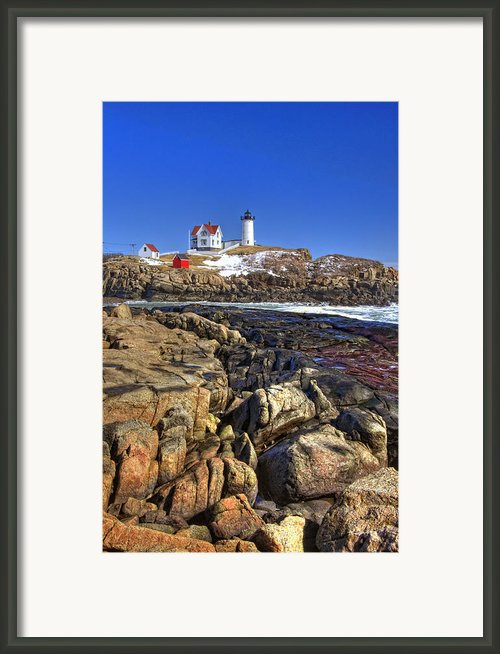 Nubble Lighthouse Framed Print By Joann Vitali