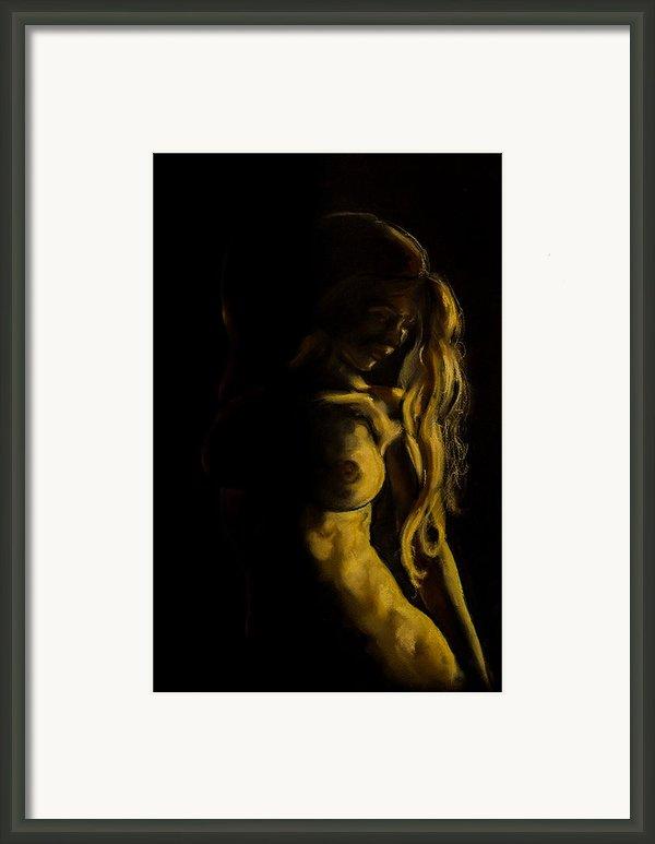 Nude - Chiaroscuro Framed Print By Dorina  Costras