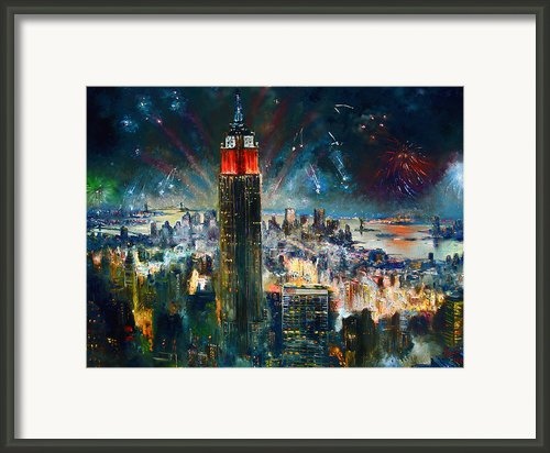 Nyc In Fourth Of July Independence Day Framed Print By Ylli Haruni