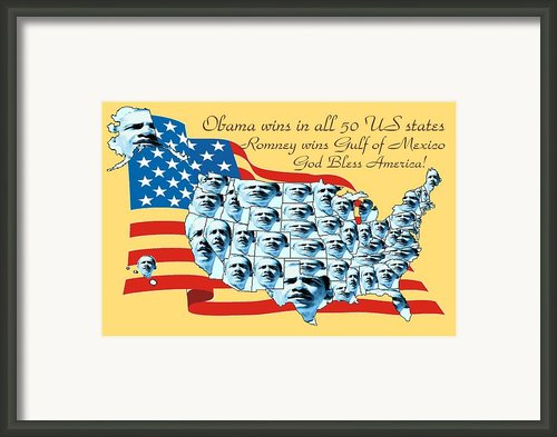 Obama Victory Map America 2012 - Poster Framed Print By Peter Art Print Gallery  - Paintings Photos Posters