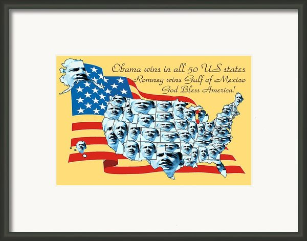Obama Victory Map America 2012 - Poster Framed Print By Peter Art Gallery  - Paintings Photos Prints Posters