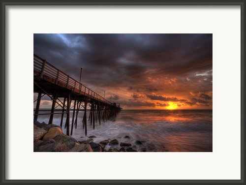 Oceanside Pier Perfect Sunset Framed Print By Peter Tellone