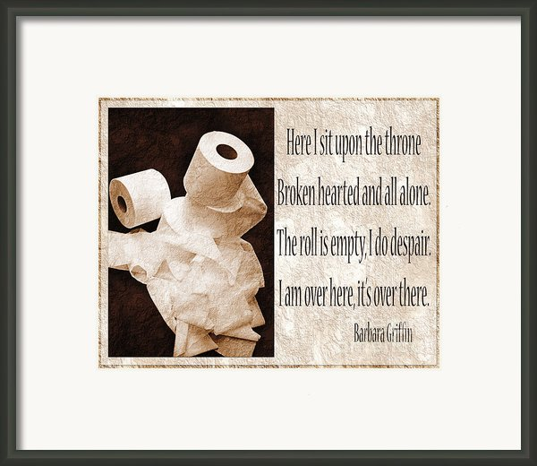 Ode To The Spare Roll Sepia 2 Framed Print By Andee Photography