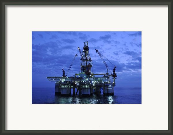 Oil Rig At Twilight Framed Print By Bradford Martin