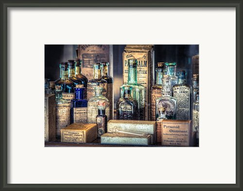 Ointments Tonics And Potions - A 19th Century Apothecary Framed Print By Gary Heller