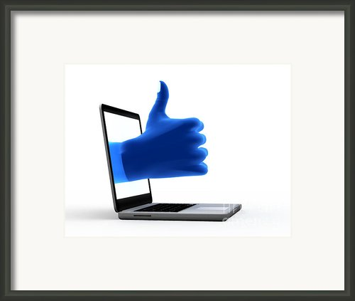 Okay Gesture Blue Hand From Screen Framed Print By Michal Bednarek