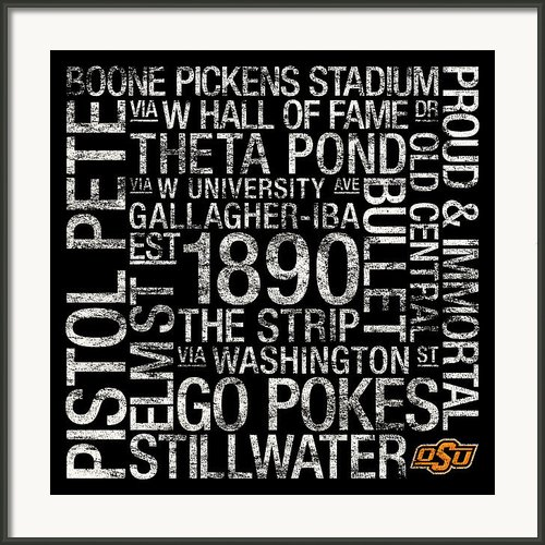 Oklahoma State College Colors Subway Art Framed Print By Replay Photos