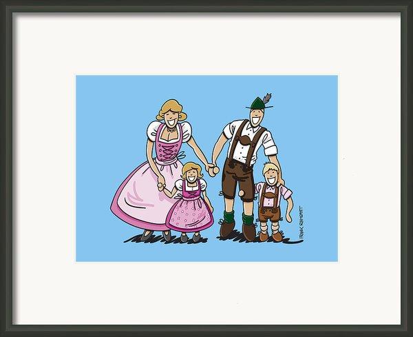 Oktoberfest Family Dirndl And Lederhosen Framed Print By Frank Ramspott