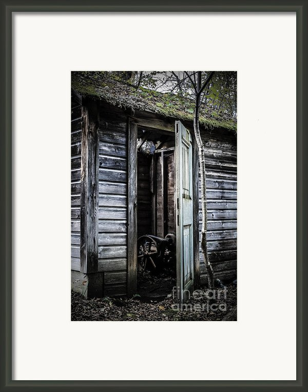 Old Abandoned Well House With Door Ajar Framed Print By Edward Fielding