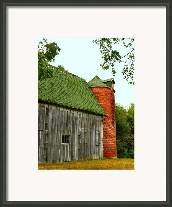 Old Barn With Brick Silo Ii Framed Print By Julie Dant