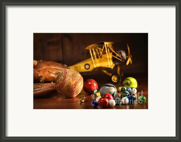 Old Baseball And Glove With Antique Toys Framed Print By Sandra Cunningham