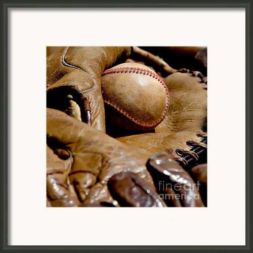 Old Baseball Ball And Gloves Framed Print By Art Blocks