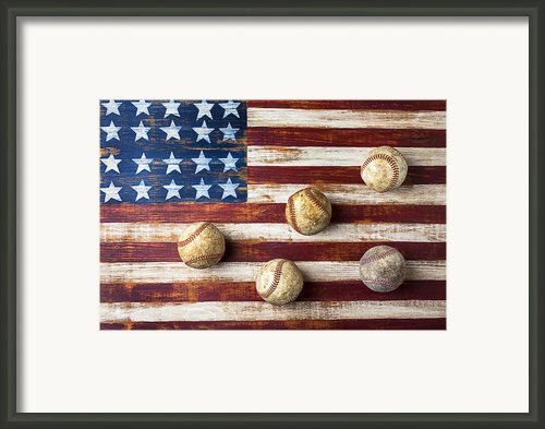 Old Baseballs On Folk Art Flag Framed Print By Garry Gay