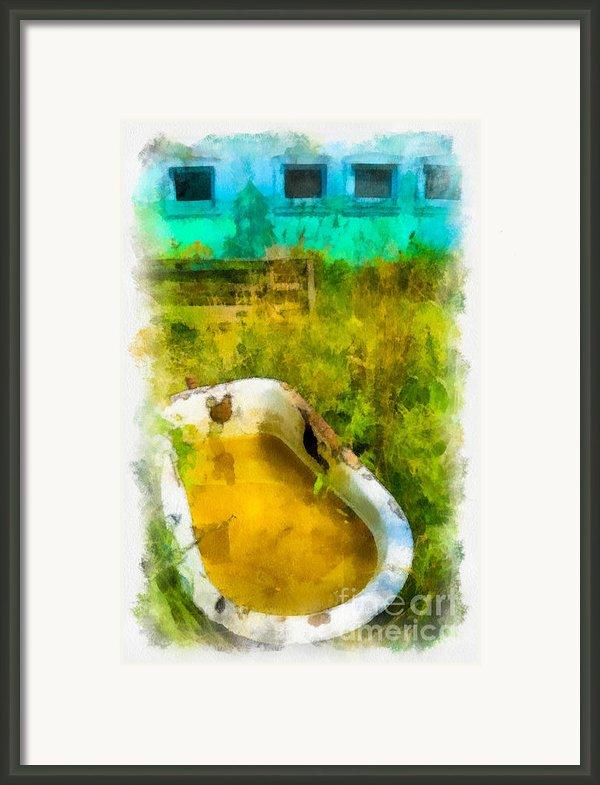 Old Bathtub Near Painted Barn Framed Print By Amy Cicconi