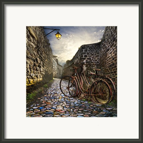 Old Bicycles On A Sunday Morning Framed Print By Debra And Dave Vanderlaan