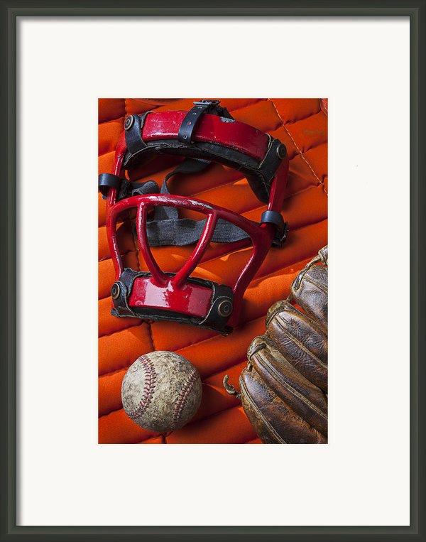 Old Catcher Mask Framed Print By Garry Gay