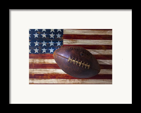 Old Football On American Flag Framed Print By Garry Gay