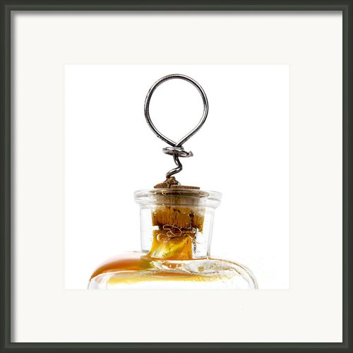 Old Glass Bottle With Cork Framed Print By Bernard Jaubert