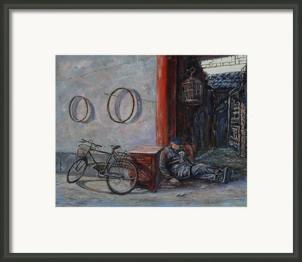 Old Man And His Bike Framed Print By Xueling Zou