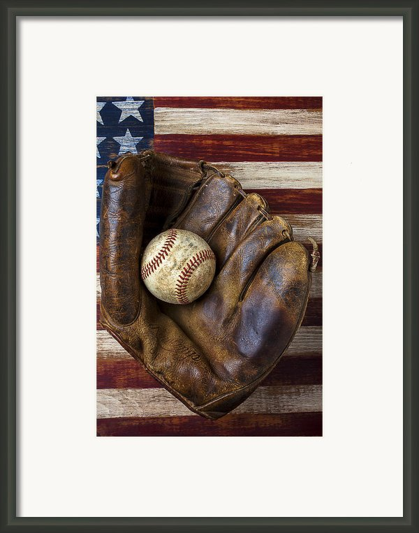 Old Mitt And Baseball Framed Print By Garry Gay