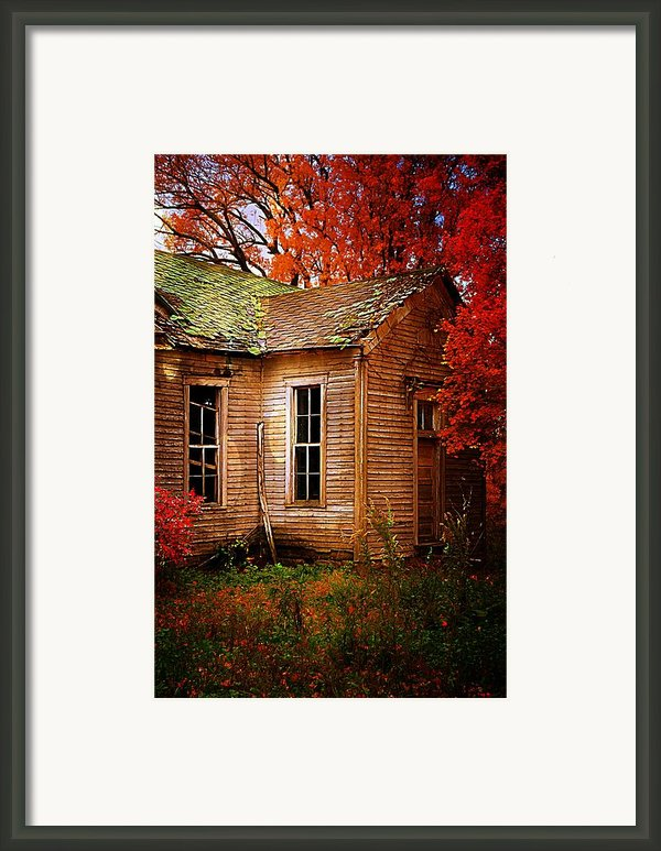 Old One Room School House In Autumn Framed Print By Julie Dant
