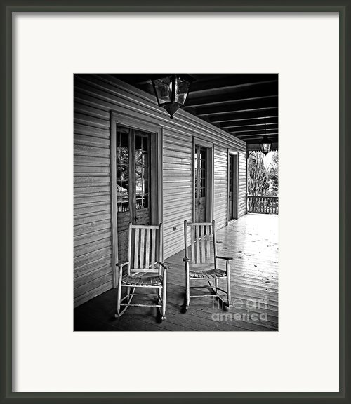 Old Porch Rockers Framed Print By Perry Webster
