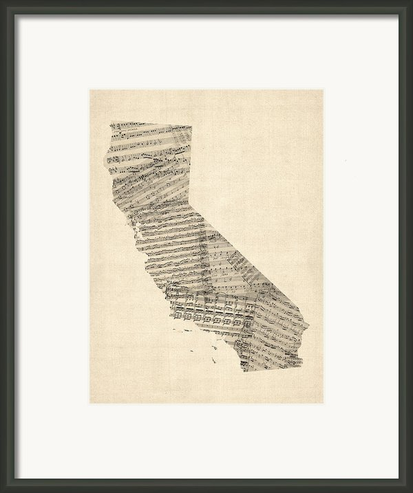 Old Sheet Music Map Of California Framed Print By Michael Tompsett