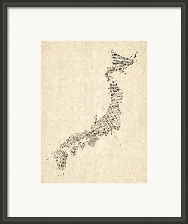 Old Sheet Music Map Of Japan Framed Print By Michael Tompsett