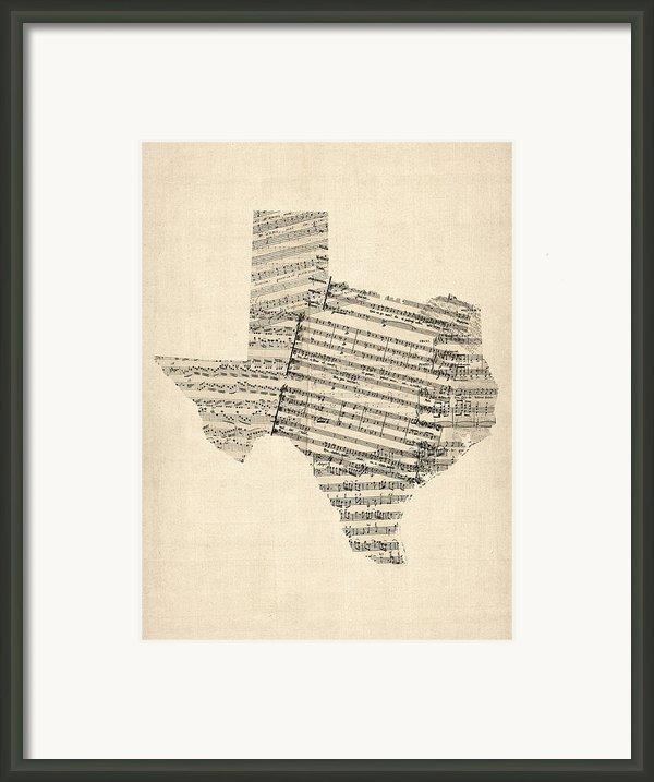 Old Sheet Music Map Of Texas Framed Print By Michael Tompsett