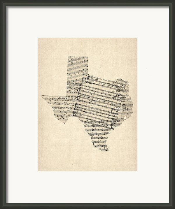 Old Sheet Music Map Of Texas Framed Print By Michael Tompsett