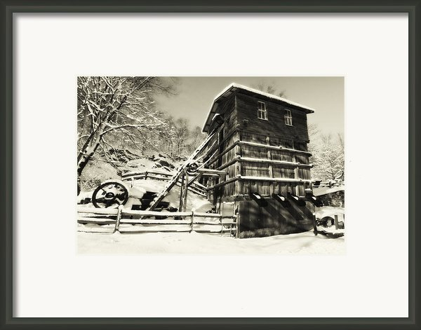 Old Snow Covered Quarry Mill Framed Print By George Oze